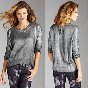 Guess Metallic Foil Distressed Sweater L